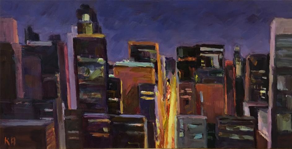 "Cityscape Night | 10"" x 20"" | $500"