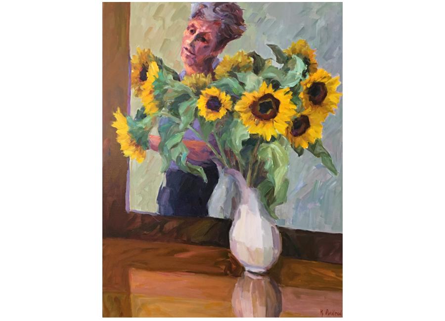 "Artist Studio with Sunflowers | 40""x30""| $3000"
