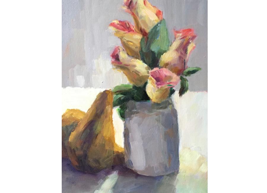 "Grey Jar with Roses | 12""x9"" | $700"