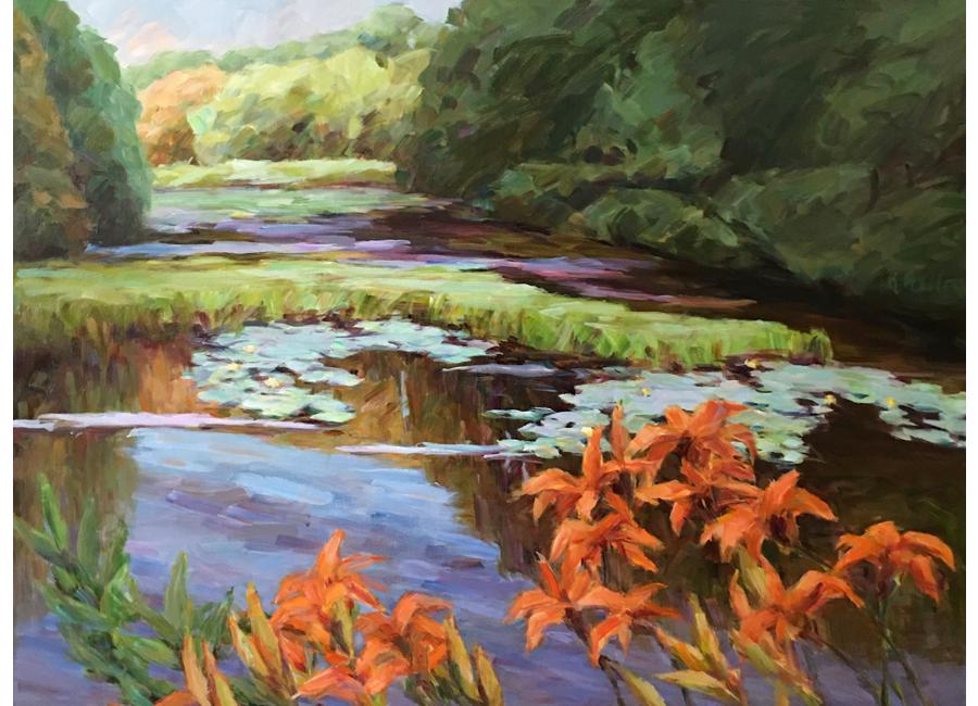 """Pond with Daylilies   30""""x40""""   $3000"""